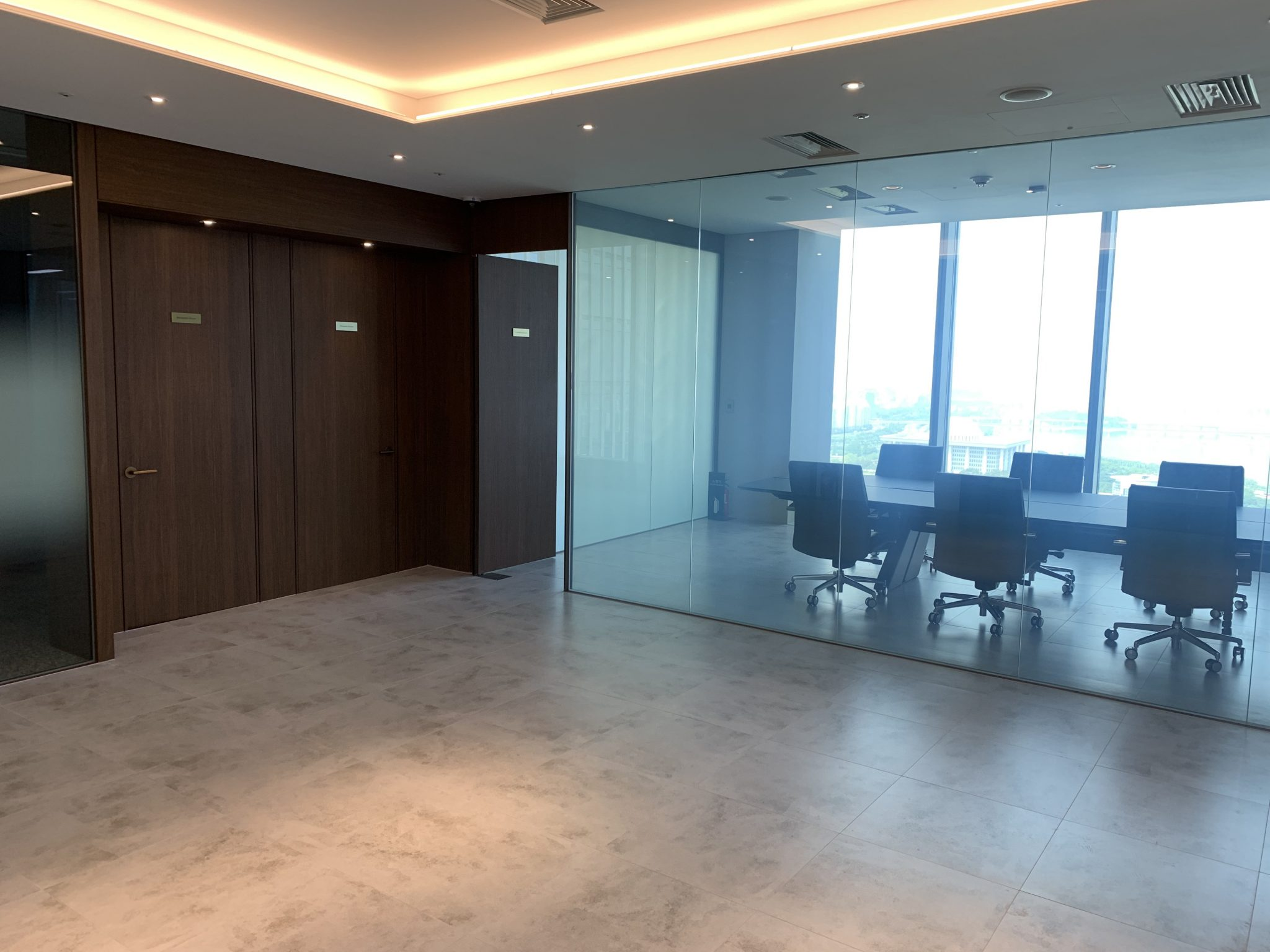 Office building with glass walls in the conference room