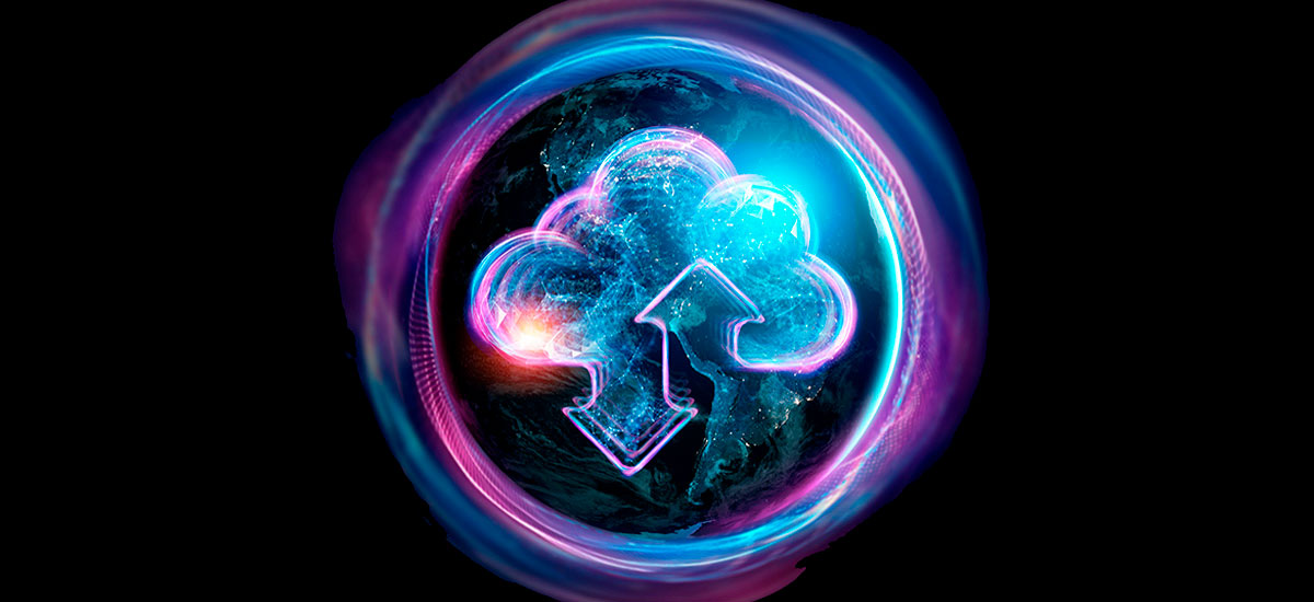Cloud icon within a colorful bubble