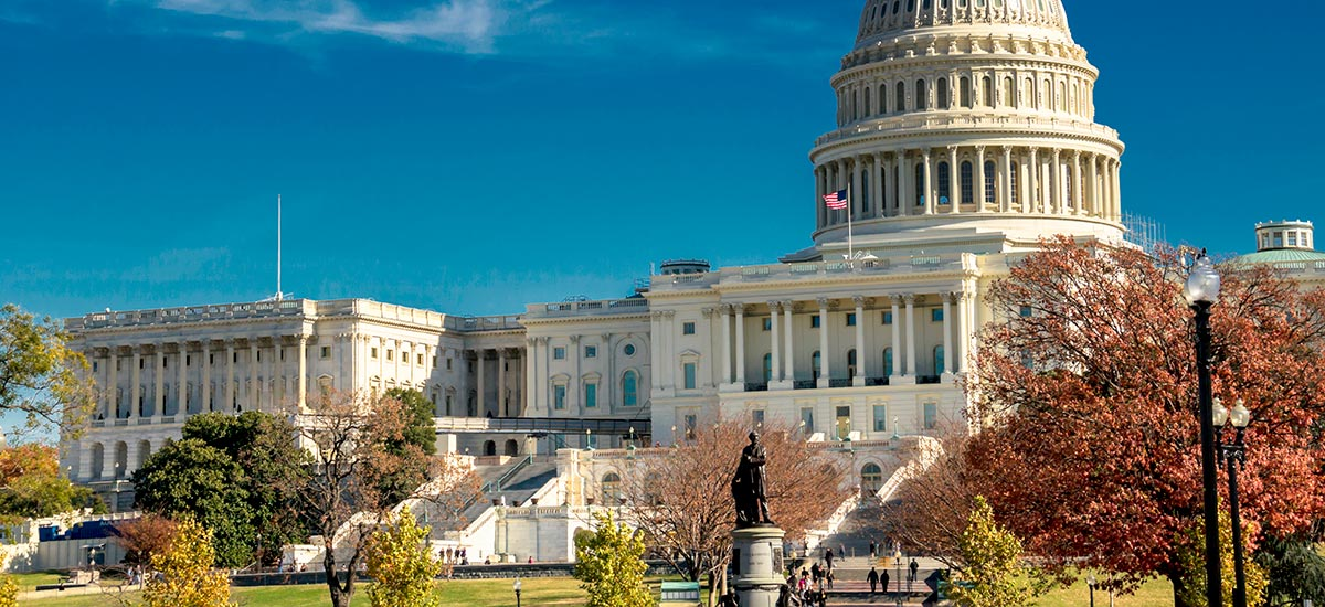 Photo of United States Capitol in fall