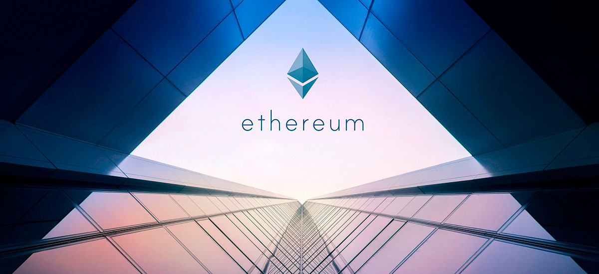 Ethereum logo on sky background next to skyscrapers