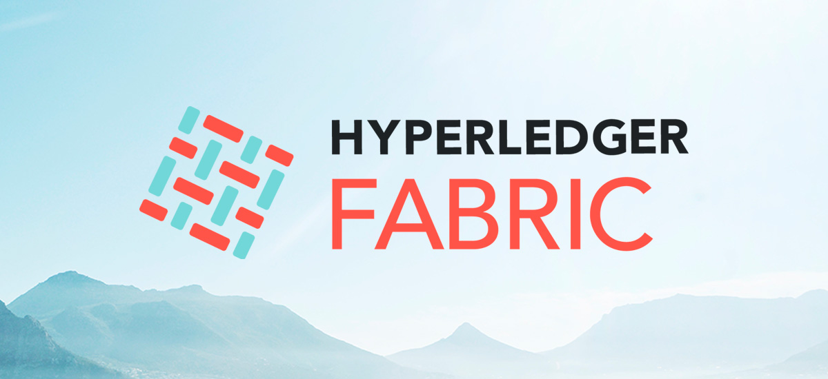 Hyperledger Fabric icon on mountain background