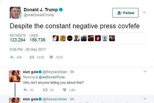 "Donald Trump's tweet going ""Despite the constant negative press covfefe"""
