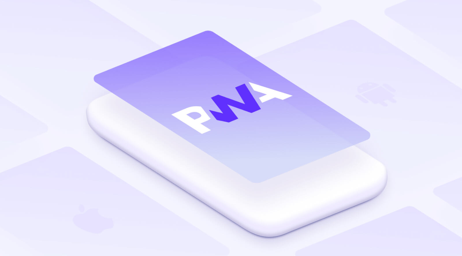 A white phone with PWA icon on the screen