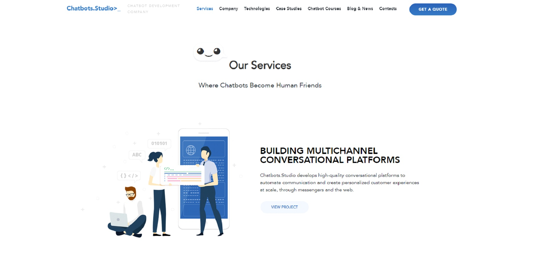 Chatbots.Studio homepage screen