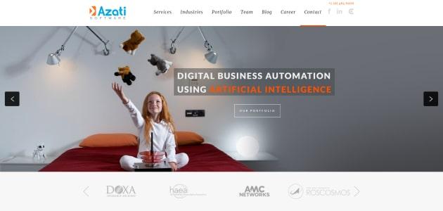 Azati Software homepage screen