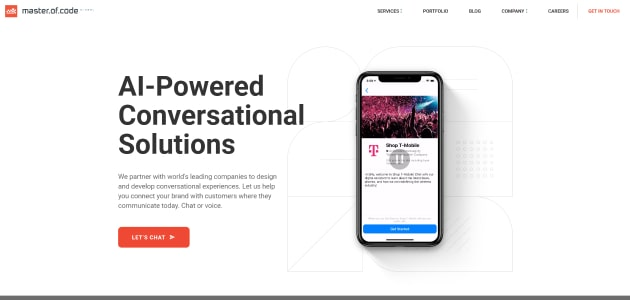 Master of Code Global homepage screen
