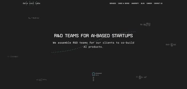 DataRoot Labs homepage screen