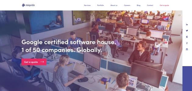 Miquido homepage screen