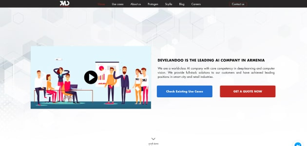 Develandoo homepage screen