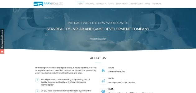 ServReality homepage screen