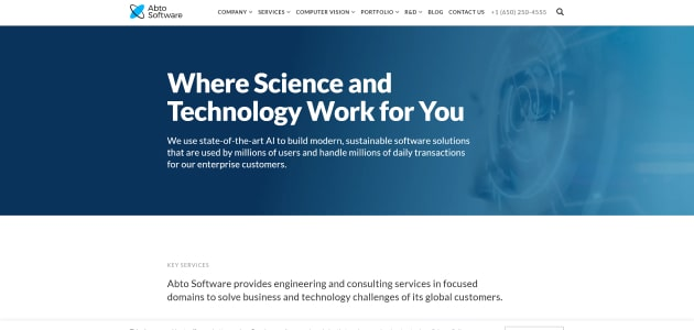 Abto Software homepage screen