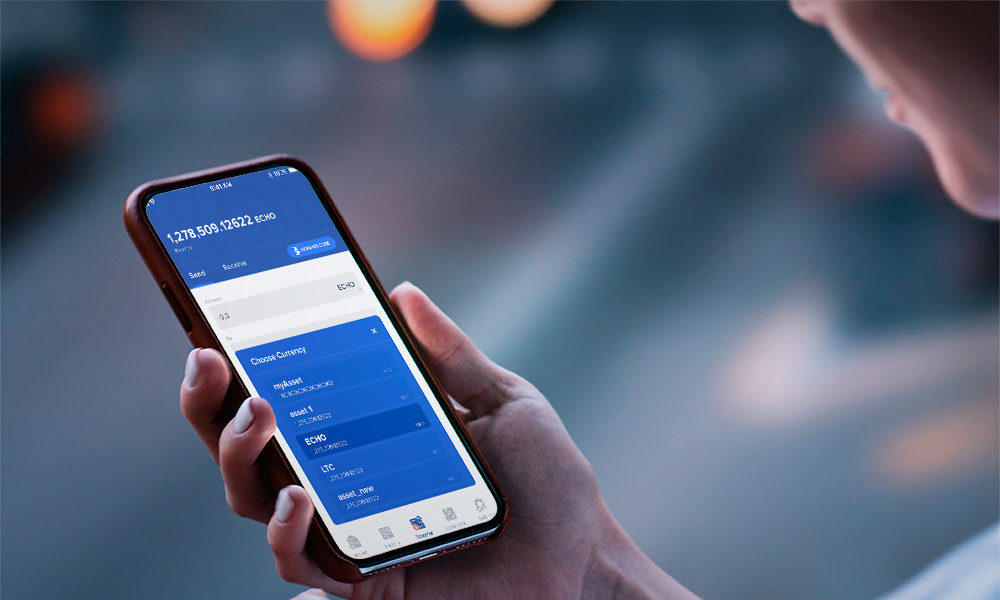 A person holds a phone with the application of cryptocurrency wallet on the screen