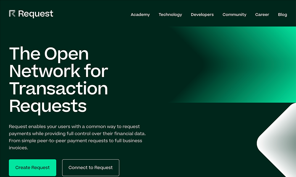 The landing page of Request Network website