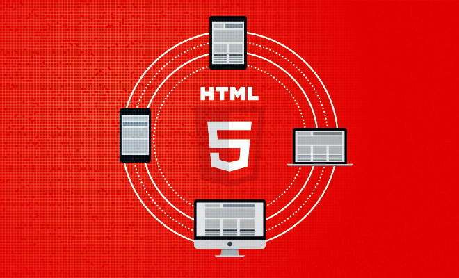 The icons of a tablet, laptop, PC and mobile phone form the circle around HTML5 logo