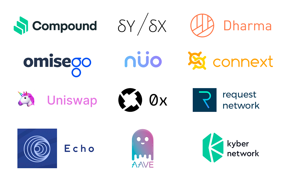 Icons of top 12 Ethereum DeFi projects described in the article