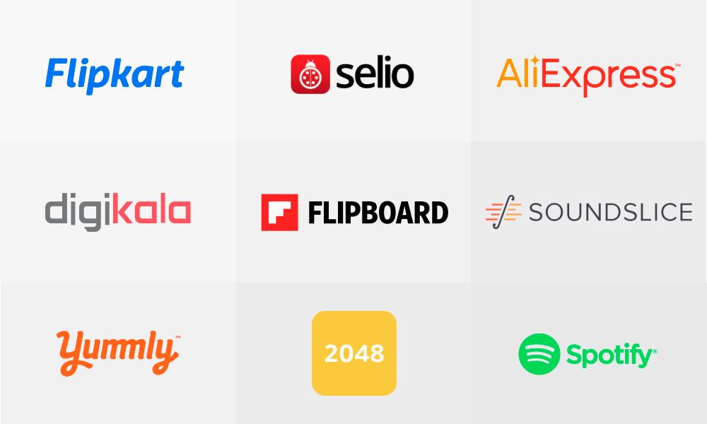 The frame containing icons of Flipkart, Selio, AliExpress, Digikala, Flipboard, Soundslice, Yummly, 2048, Spotify