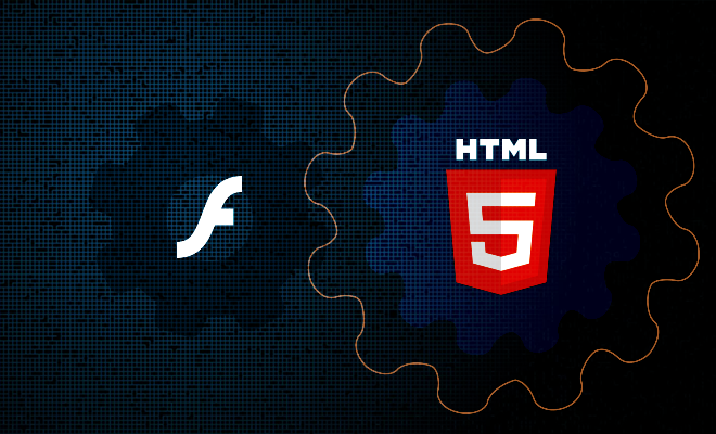 A small gear with the print of Flash logo inside located next to the bigger gear that contains HTML5 logo