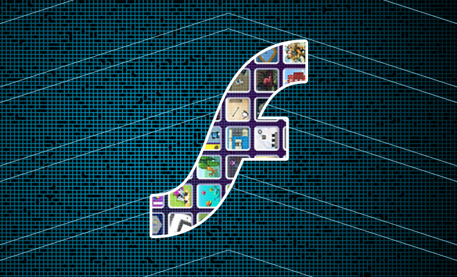 A number of application square icons within Flash logo picture