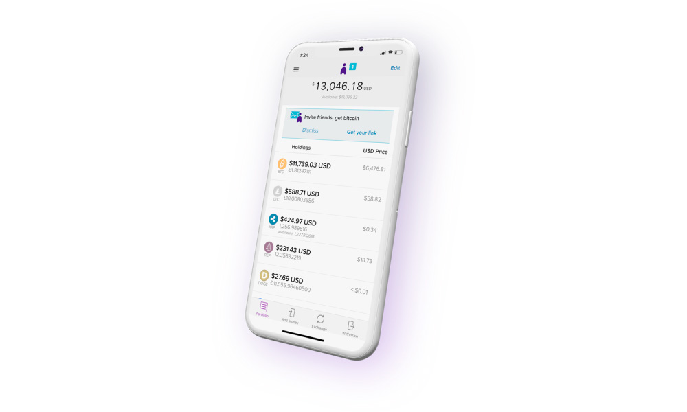 A phone with Abra app running