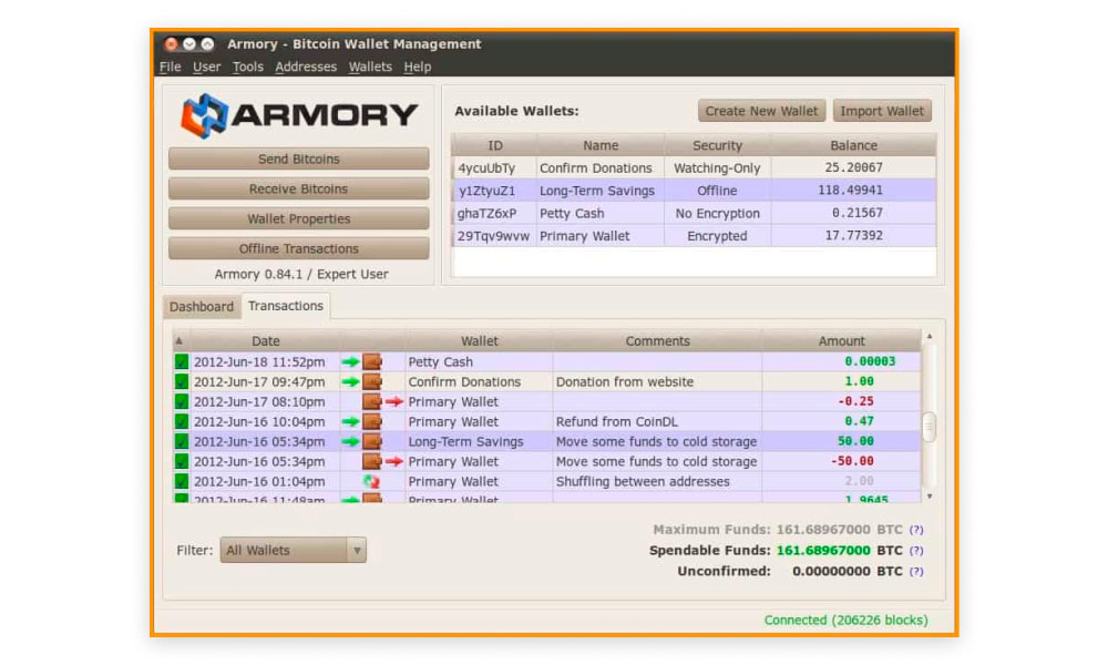 Screenshot of Armory desktop app UI