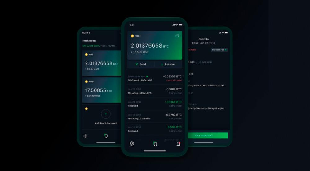 Three phones with Blockstream Green app running