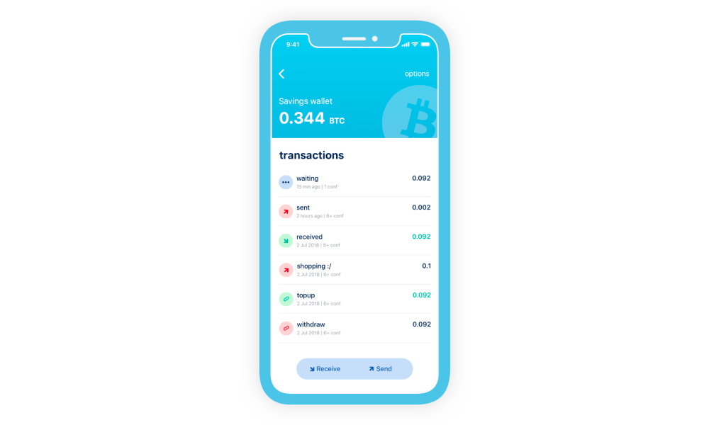 A phone with BlueWallet app running