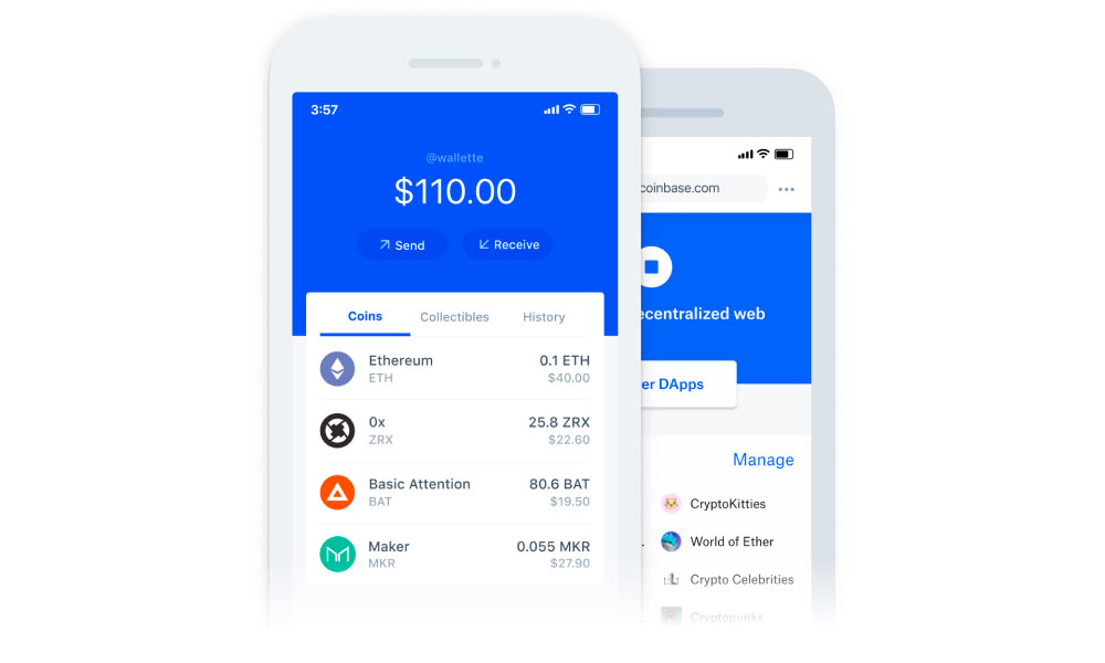Two phones with Coinbase app running