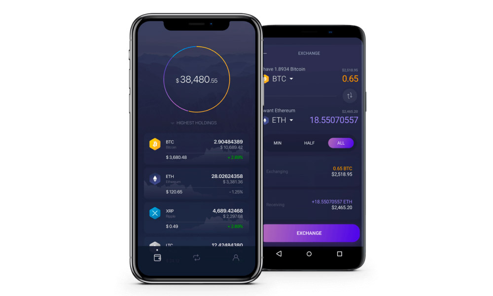 Exodus app running on Android and iOS platforms