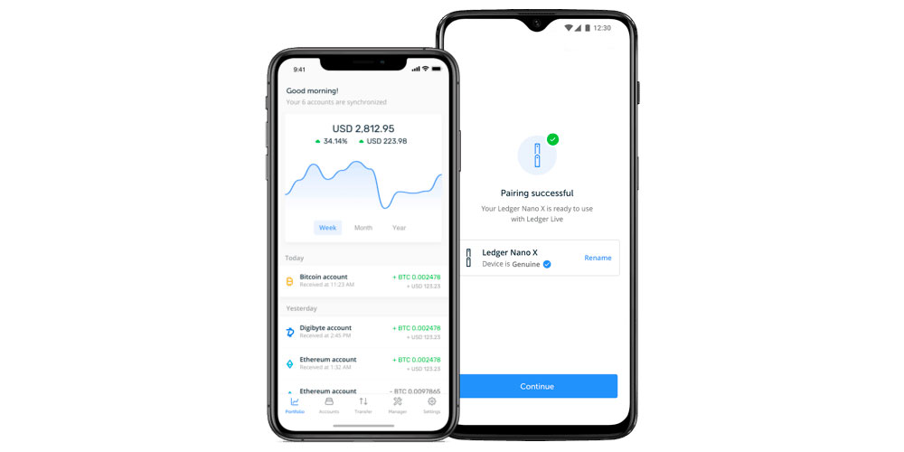 Ledger Live app running on Android and iOS platforms