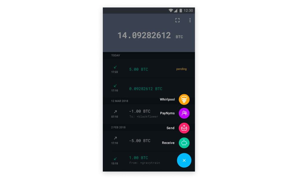 Screenshot of Samourai app UI