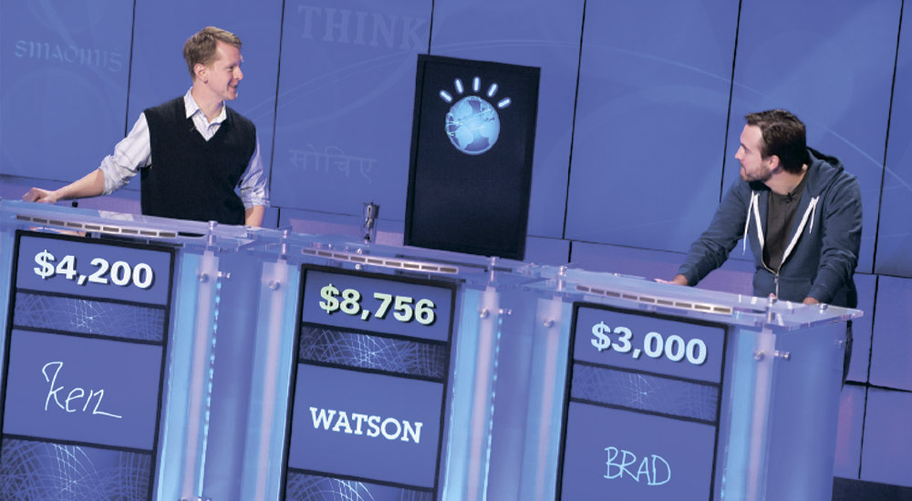 Two human competing Watson in Jeopardy game