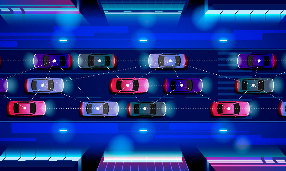 Several self-driving cars moving and analyzing each other's position