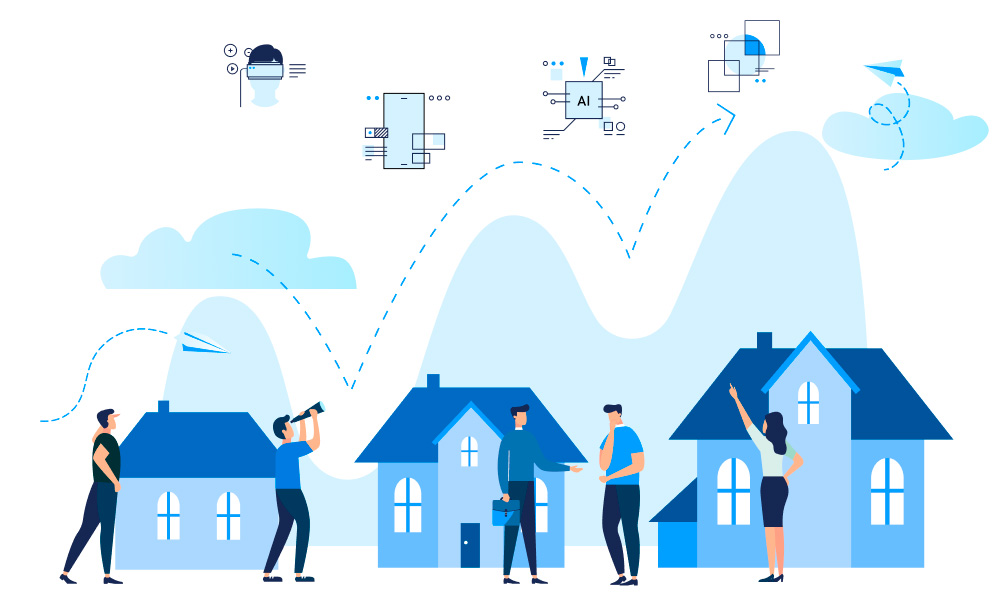 Three houses of different size and the arrow line with VR, Mobile, AI, and Blockchain icons above representing the transformation process