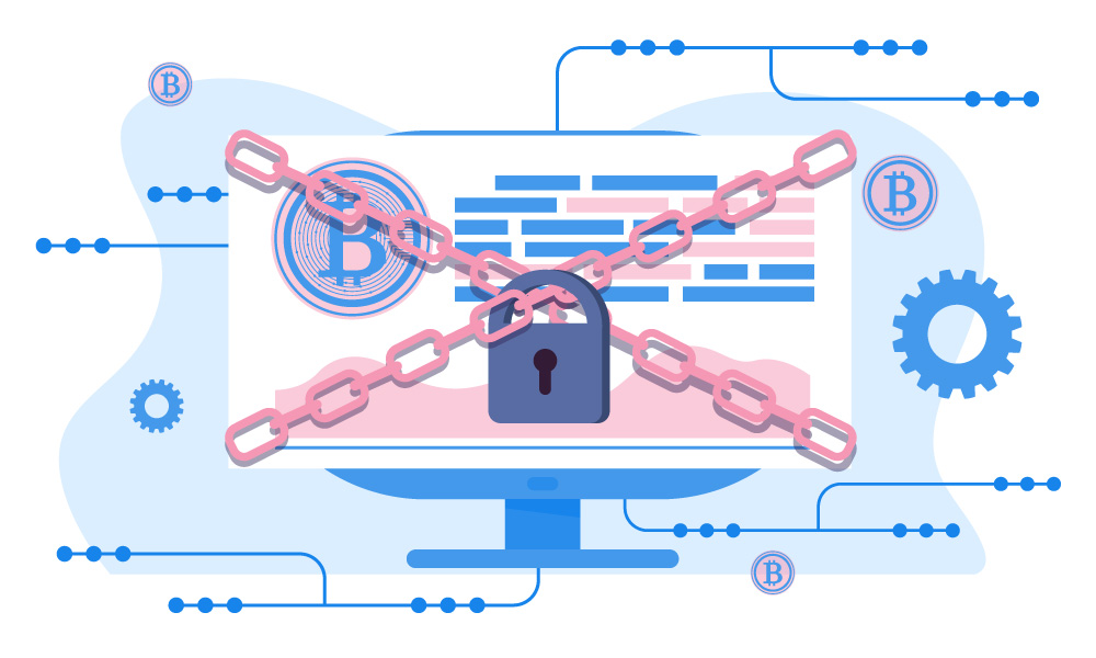 A vector image of a monitor crossed by chains with the lock on them