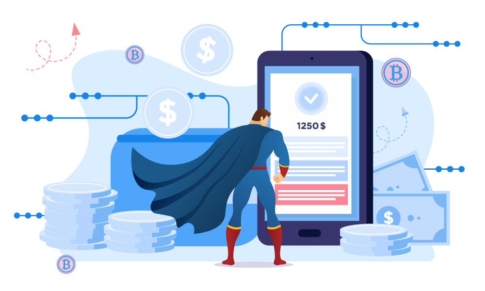 A vector image of a superman staying next to the phone that processing transactions