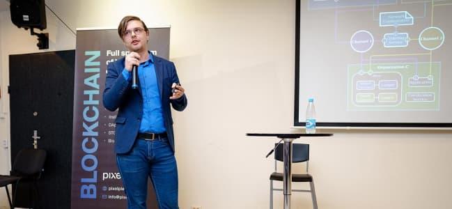 Nikita Latkovich of PixelPlex presenting the DocFlow solution