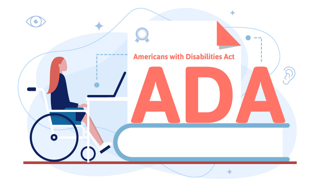 A person in a wheelchair opens Americans with Disabilities Act on the notebook