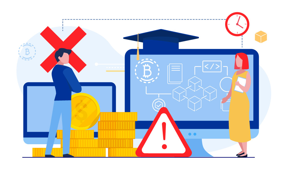 Two people next to a pile of coins, two monitors, and warning icons