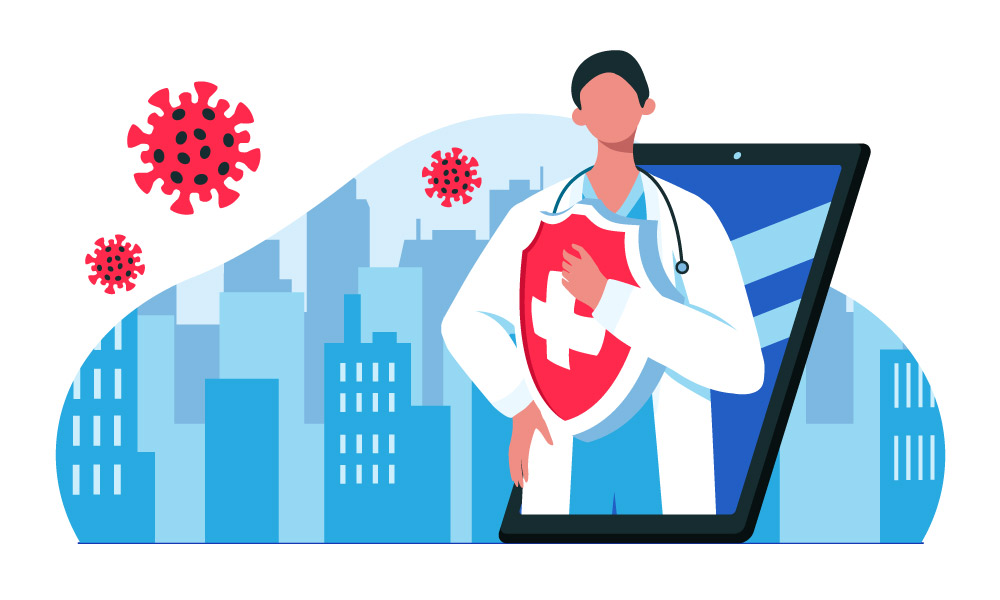 A medical worker on a tablet screen carrying a shield next to virus models