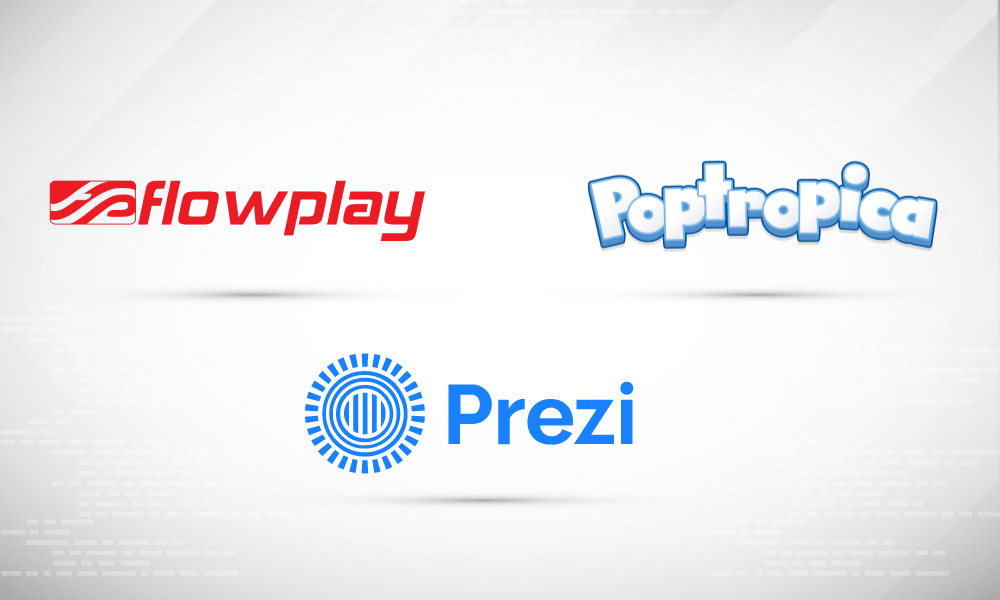 A frame of icons of Flowplay, Prezi, and Poptropica on a light background