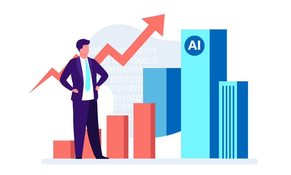 A person in a business suit on the background of a chart and AI icon