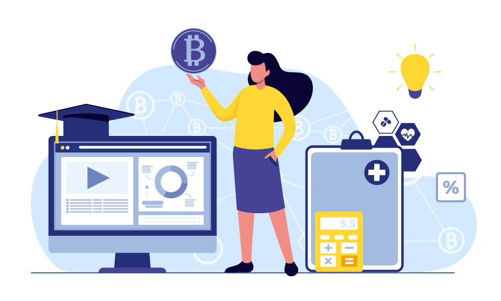 A person holding a bitcoin next to a monitor and icons of different industries: healthcare, education, retail
