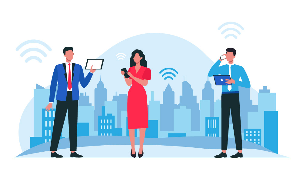 Three people using devices to communicate on city background