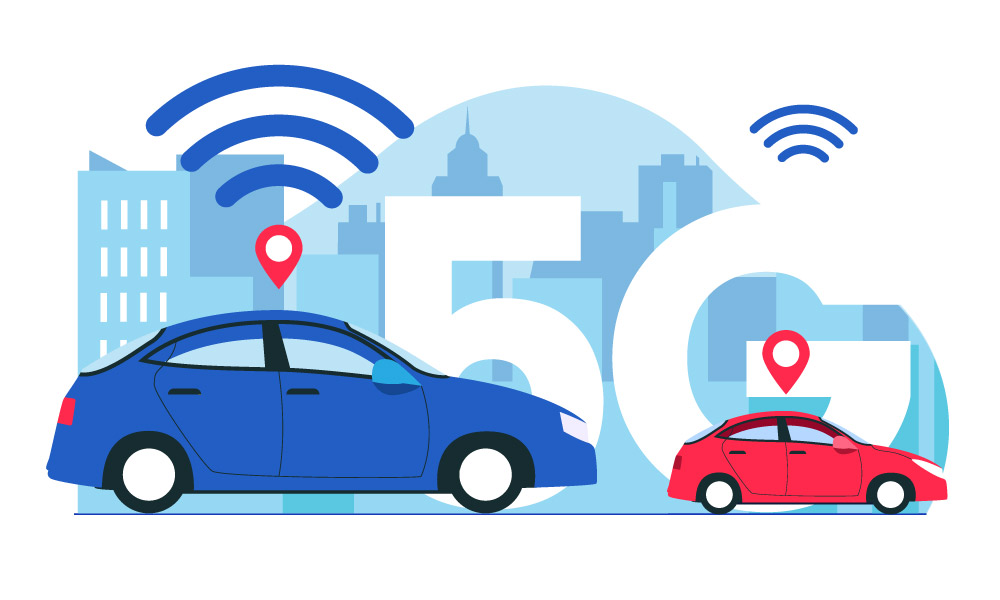Wireless network icons above two cars next to 5G sign