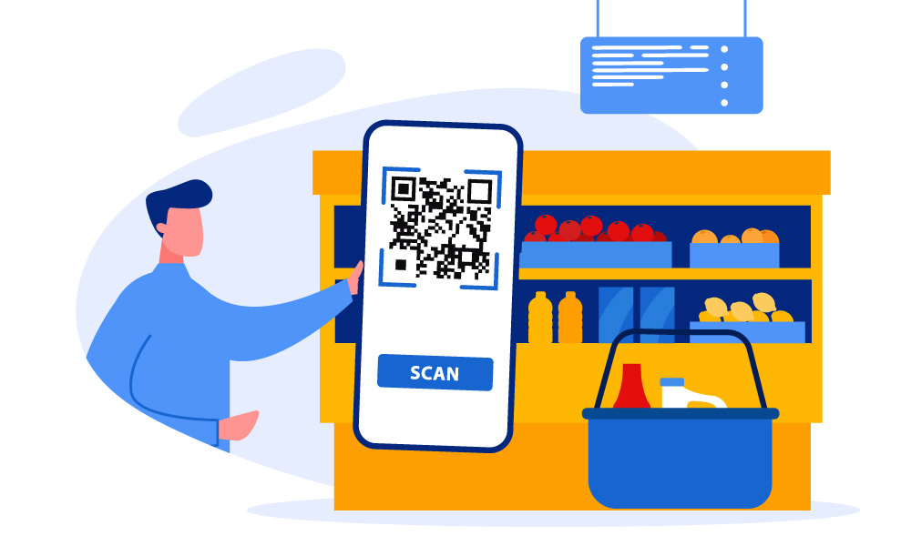 A person in a grocery store holding a phone with a QR code on the screen
