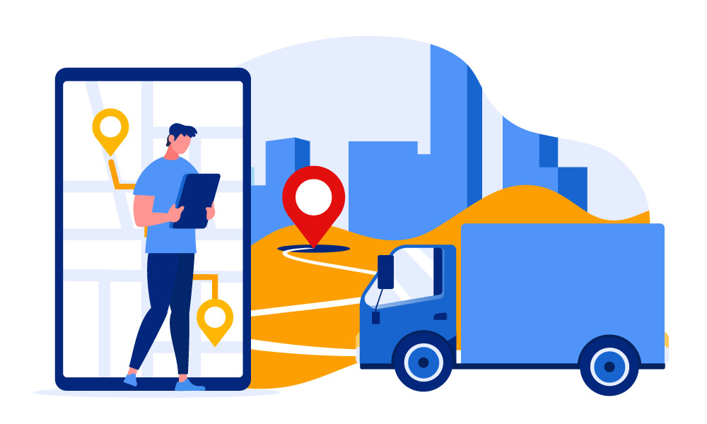 A person and a truck driver using the phone to navigate around