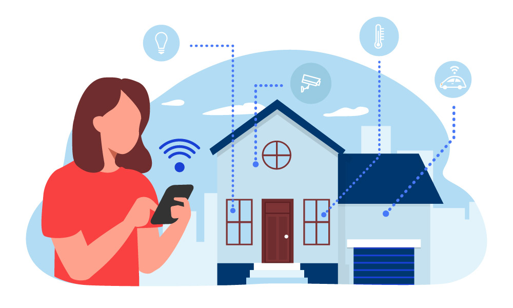 A person controlling remote smart home devices via a phone