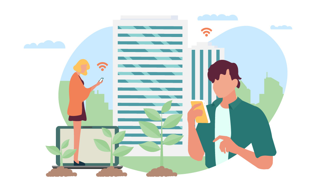 Two people using smartphones standing next to a building and three growing plants