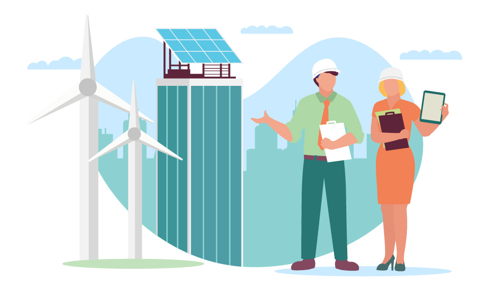Two people wearing hard hats standing next to wind turbines and solar panels