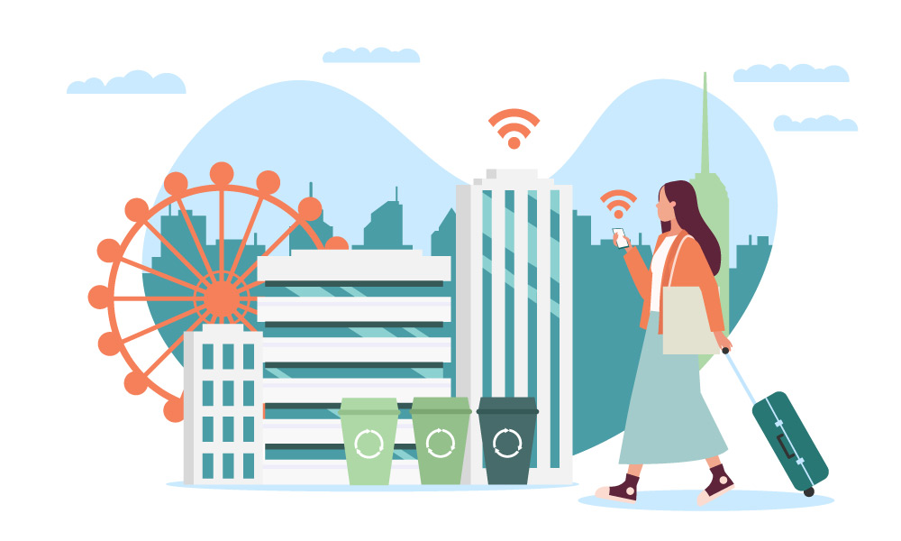 A person carrying a suitcase on wheels on a smart city background